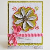 Joulukortti ja kukka piparisydän-kuvioleikkurilla