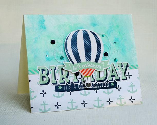 Värikäs itsetehty tausta syntymäpäiväkorttiin