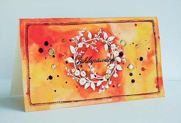 Juhlapäivänä, kortti suoraan korttipohjalle